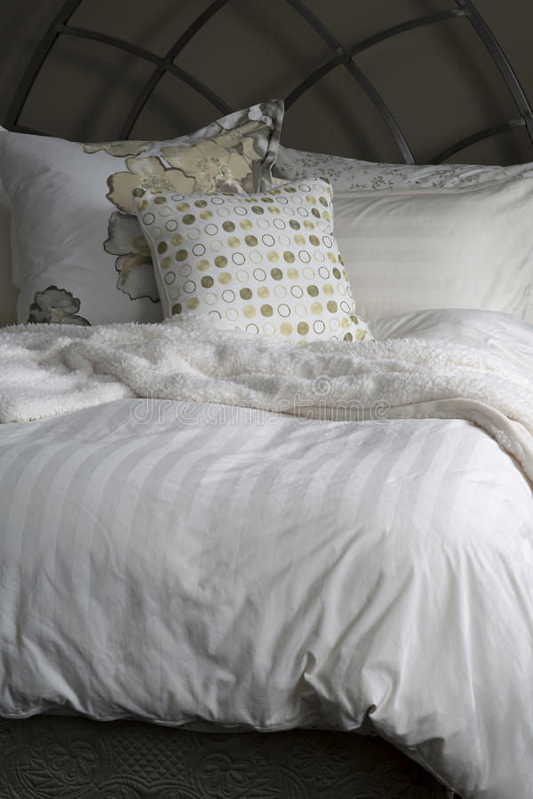 Cozy Bed Linens stock image