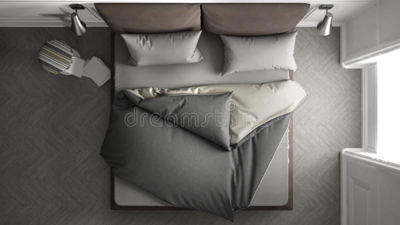 Cozy bed, top view stock photos