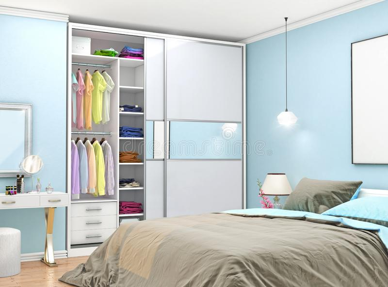 Cozy bedroom with a closet with mirrored doors next to the bed. Empty canvas hung on the wall above the bed royalty free stock image