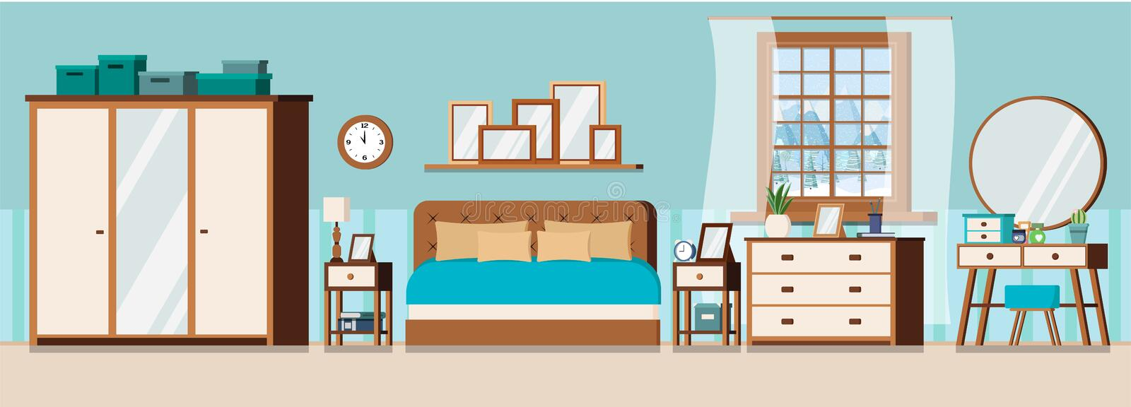 Cozy bedroom interior background with furniture and window. With winter landscape scene. Wardrobe, bed, pillows, nightstands, chest of drawers, mirror, dressing stock illustration