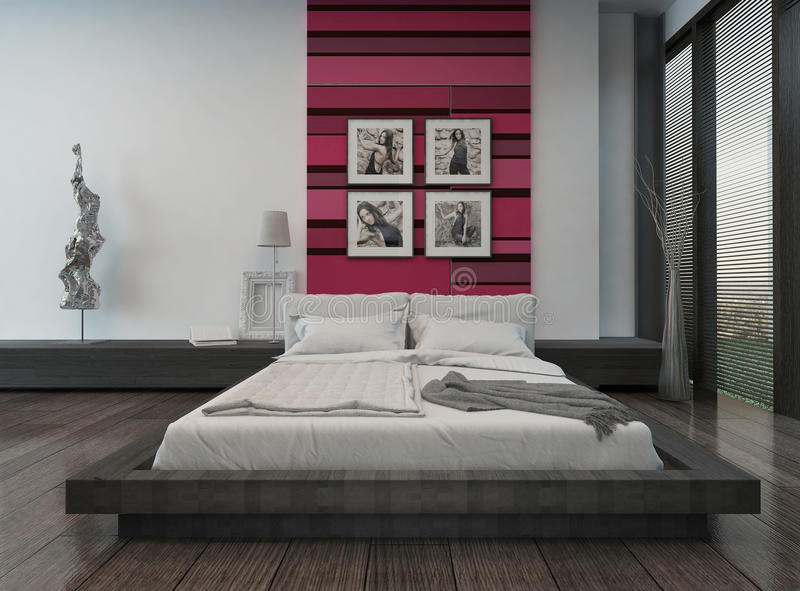 Cozy bedroom interior with pink/red colored wall stock illustration
