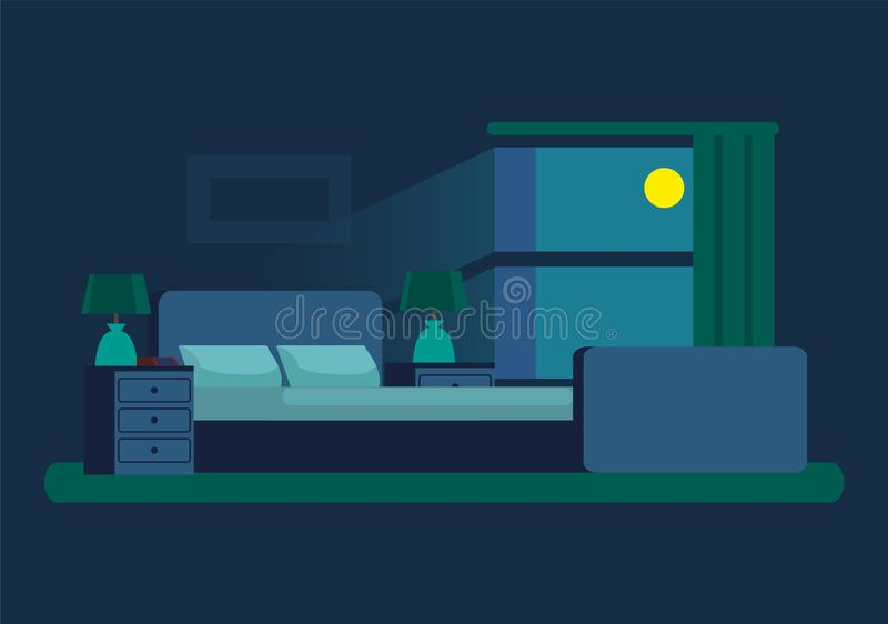 Cozy Bedroom at Night with Moonlight From Window royalty free illustration
