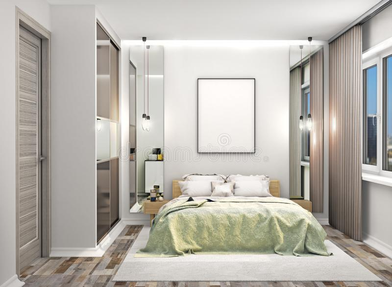 Cozy bedroom with a wardrobe with mirrored doors next to the bed. Blank canvas hung on the wall above the bed. 3D illustration royalty free stock photo