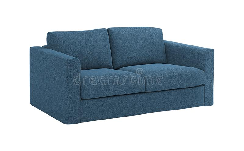 Cozy blue sofa. Isolated on a white background royalty free stock image