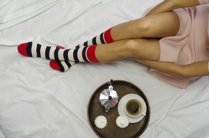 Cozy breakfast in bed stock photos