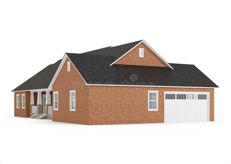 Cozy brick house isolated on white background. vector illustration