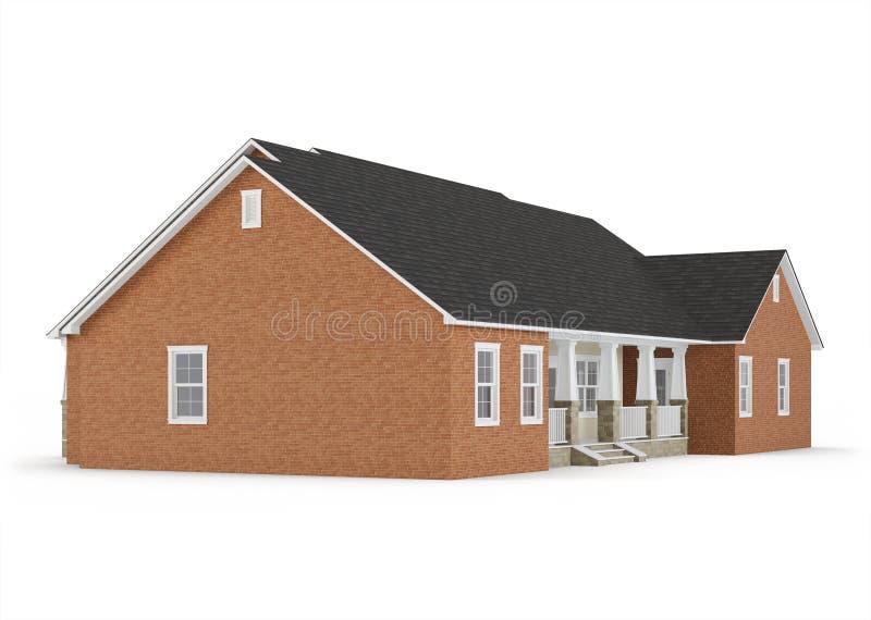 Cozy brick house isolated on white background. royalty free illustration