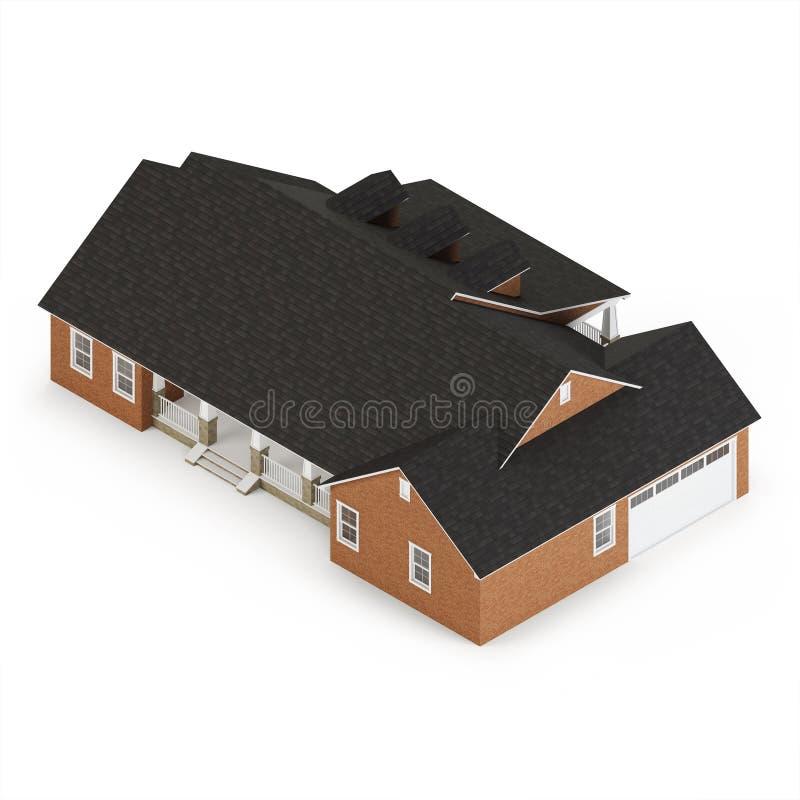 Cozy brick house isolated on white background. Isometric projection. royalty free illustration