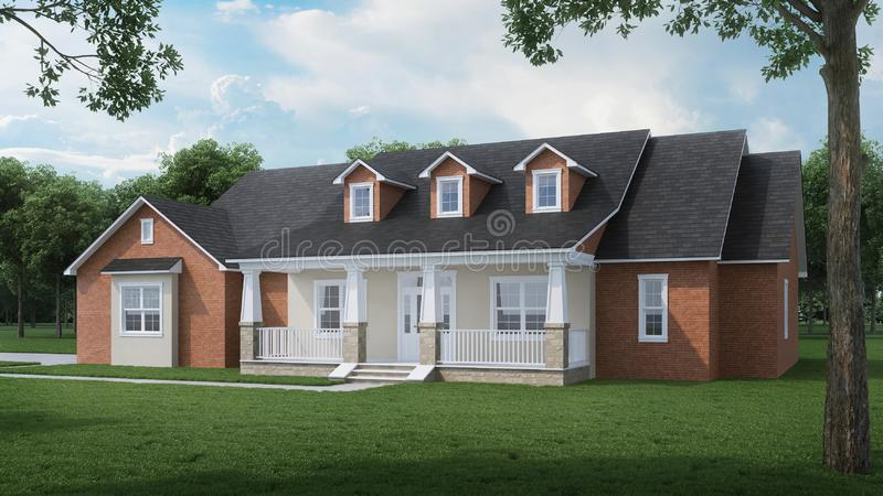 Cozy brick house with a large garden and lawn. Home exterior. Sunny day. 3D rendering stock illustration