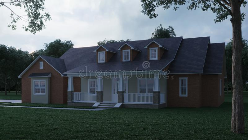 Cozy brick house with a large garden and lawn. Home exterior. Twilight, night lighting. royalty free illustration