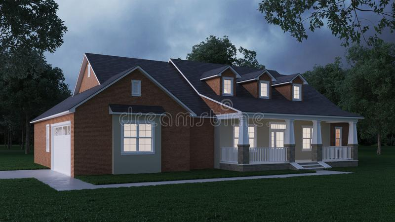 Cozy brick house with a large garden and lawn. Home exterior. Twilight, night lighting. 3D rendering stock illustration