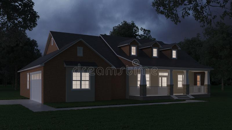 Cozy brick house with a large garden and lawn. Home exterior. Twilight, night lighting. 3D rendering royalty free illustration