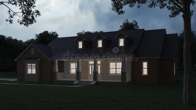 Cozy brick house with a large garden and lawn. Home exterior. Twilight, night lighting. vector illustration