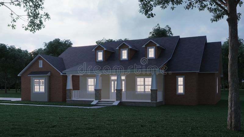 Cozy brick house with a large garden and lawn. Home exterior. Twilight, night lighting. 3D rendering vector illustration
