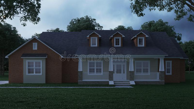 Cozy brick house with a large garden and lawn. Home exterior. Twilight, night lighting. stock illustration
