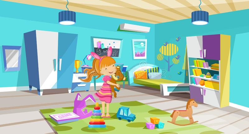 Cozy, bright room, children`s bedroom with furniture, toys, accessories. vector illustration