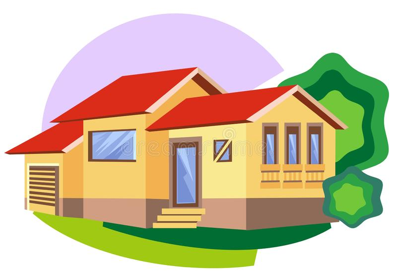 Cozy bungalow. Architectural style building royalty free illustration