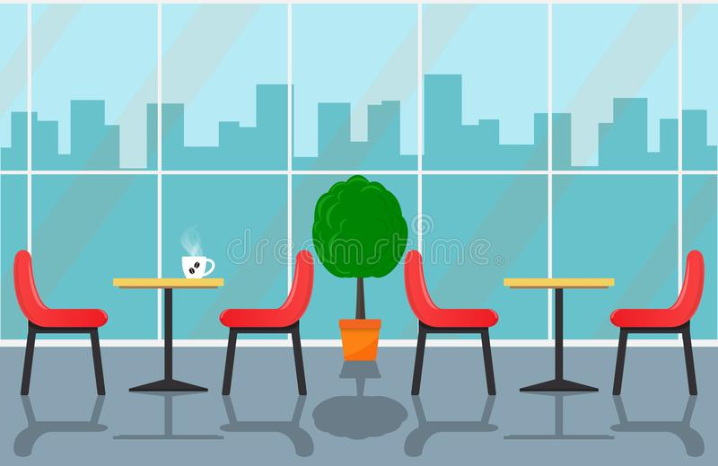 Cozy cafe interior with tables and chairs near large window, urban landscape outside the window. Cup off coffee on table. Vector i. Llustration in flat style stock illustration