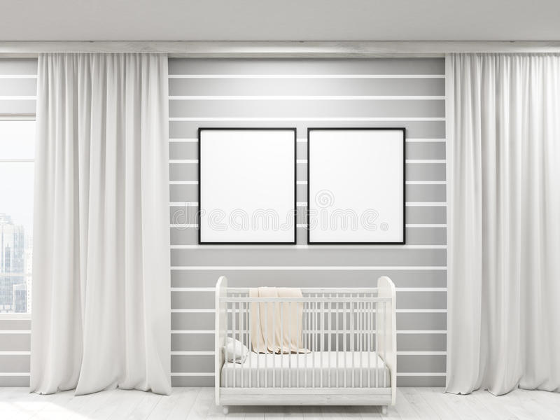 Cozy child's room. Nursery with two posters, bed and large windows, frames. Concept of cozy apartment. 3d rendering. Mock up royalty free illustration
