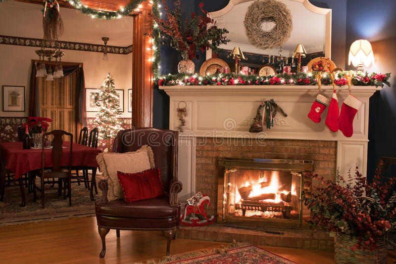 Wonderful Fireplaces In The Dining Room For Cozy And Warm: Cozy Christmas Fireplace Setting Stock Image
