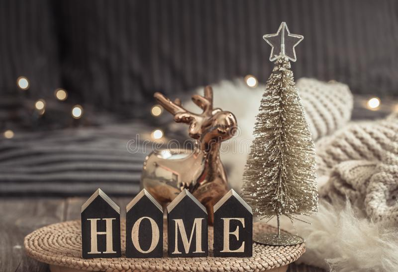 Cozy Christmas still life in a homely atmosphere on a wooden table. The concept of home decor and holidays stock photo