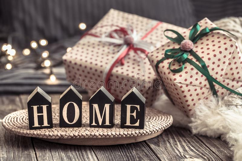 Cozy Christmas still life in a homely atmosphere on a wooden table. The concept of home decor and holidays royalty free stock photography