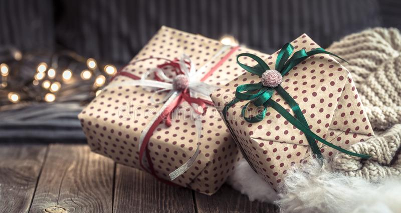 Cozy Christmas still life in a homely atmosphere on a wooden table. The concept of home decor and holidays stock photos