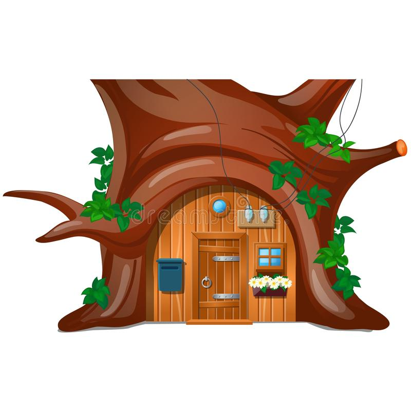 A cozy cottage with mail box in the woods under a tree isolated on white background. Vector cartoon close-up royalty free illustration