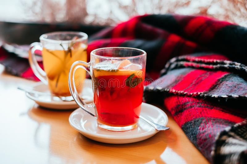 Cozy cups of tea royalty free stock photos