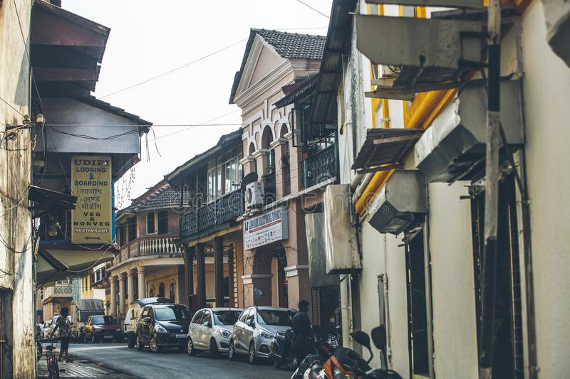 Cozy cute little street in the center of Panaji city in the Asia. N country India royalty free stock image