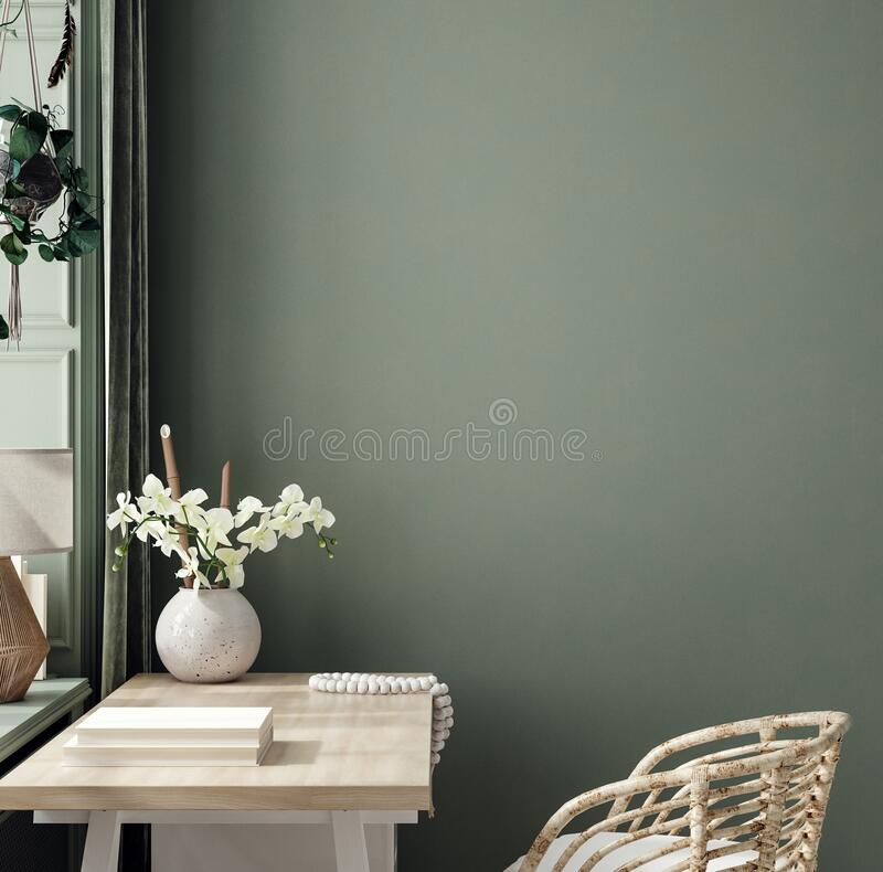 Free Cozy Dark Green Workplace Interior At Home, Wall Mockup Royalty Free Stock Photo - 215656335