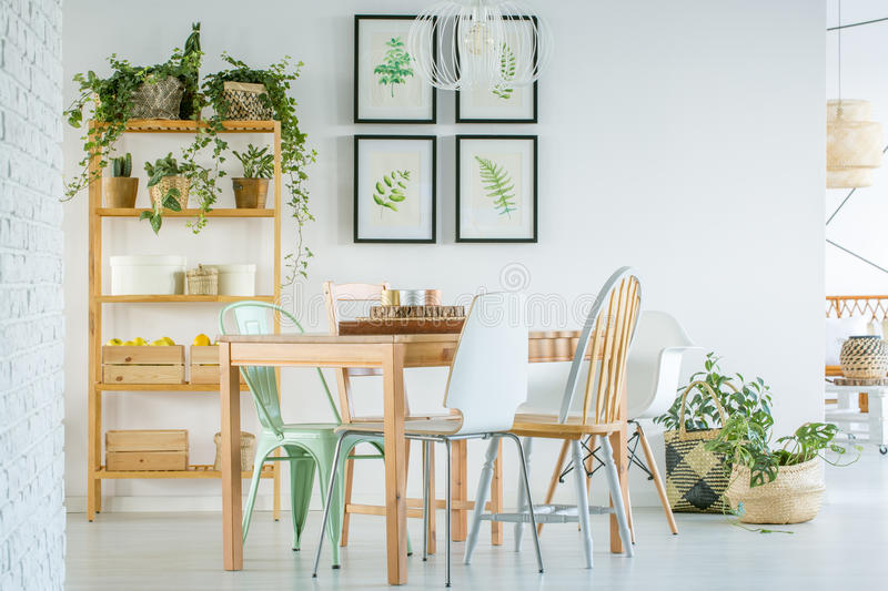 Cozy dining room. With wooden furniture and plants royalty free stock photo