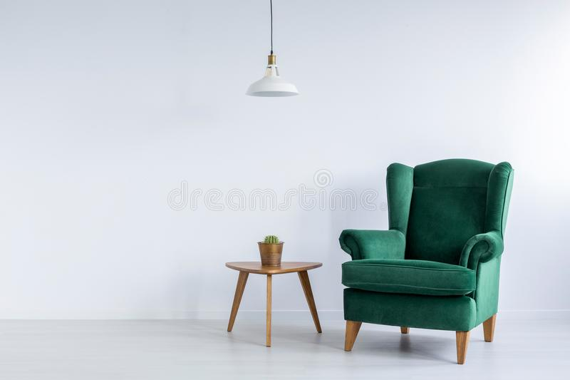 Cozy, emerald green, wing armchair and a cactus on a wooden table in a white living room interior with copy space. Real photo. royalty free stock images