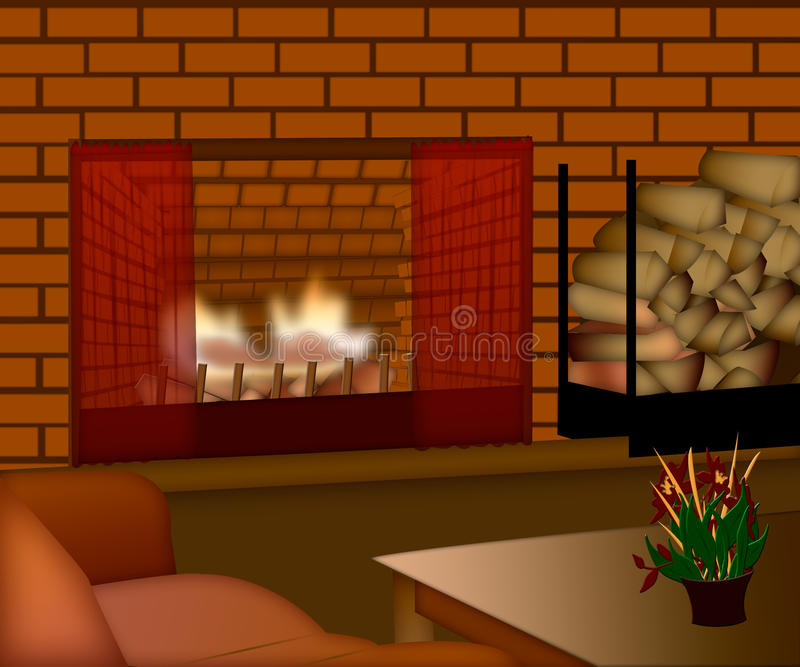 Cozy family room with fireplace in brick wall vector illustration