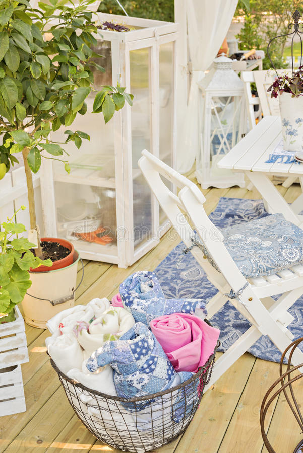 Cozy garden patio. Image of cosy garden patio area stock image