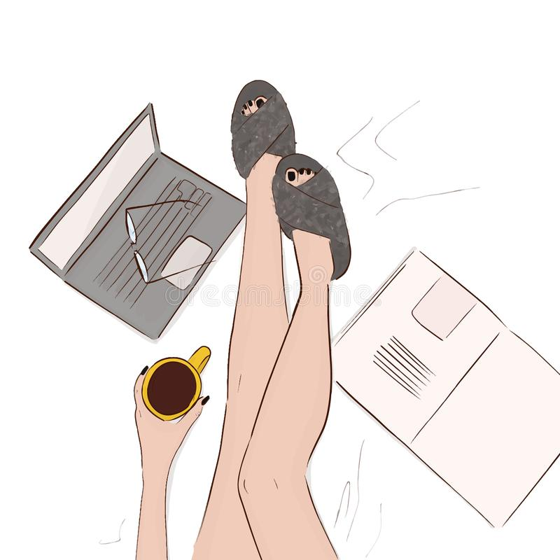 Cozy home illustration. Model legs in bed with coffee, computer, magazine and faux fur slippers. Woman hand drawn winter relax wee. Kend. Bed laying illustration royalty free illustration