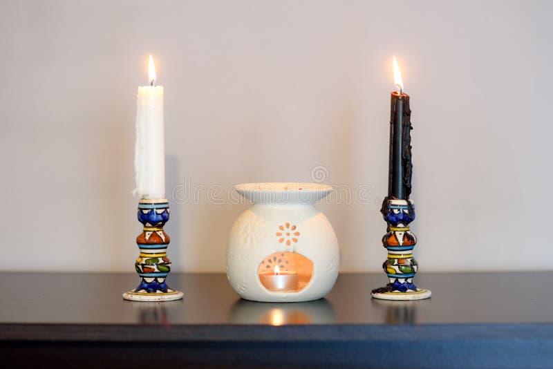 Cozy home interior decor, burning candles. stock image