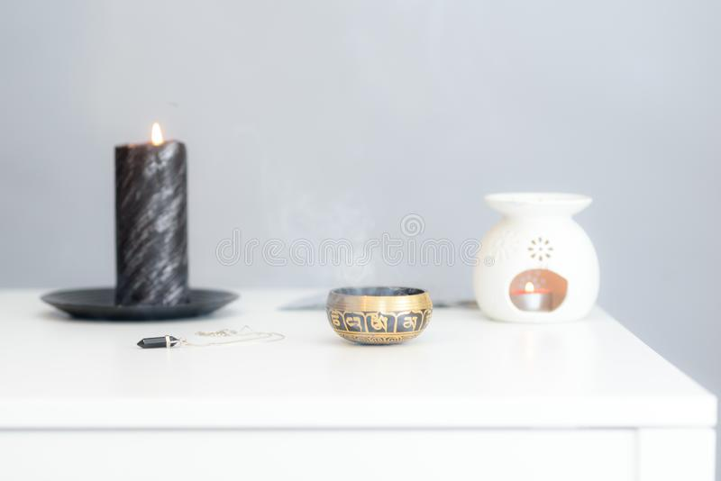 Cozy home interior decor, burning candles. royalty free stock photo