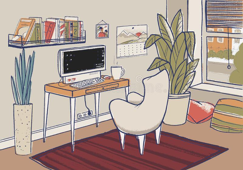 Cozy home office vector illustration. Cute interior for working from home. Cozy home office vector illustration. Cute hand-drawn interior for working from home royalty free illustration