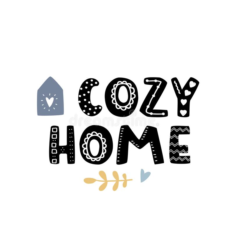 Cozy home simple flat illustration. Bold cute fantasy font with doodle decoration. Bold cute fantasy font with doodle decoration. Cozy home simple flat royalty free illustration