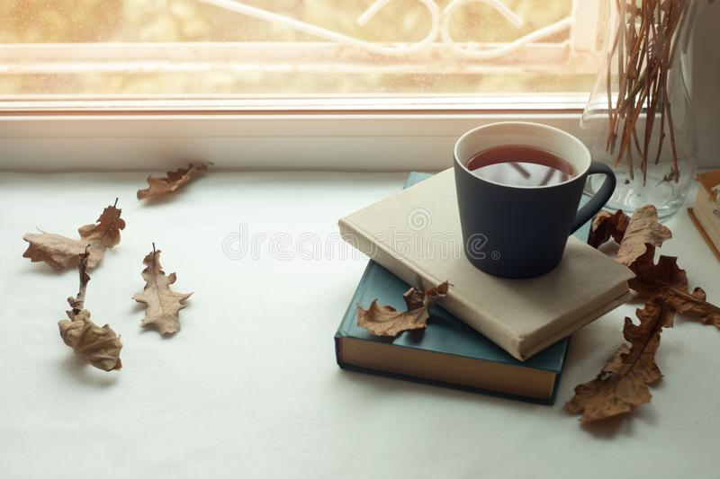 Cozy home still life: candlestick and books on windowsill against landscape outside. Autumn holidays, reading time concept. Cozy home still life: cup of hot stock photo