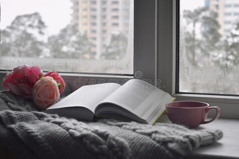 Cozy home still life: cup of hot coffee, spring flowers and opened book with warm plaid on windowsill against snow stock photo