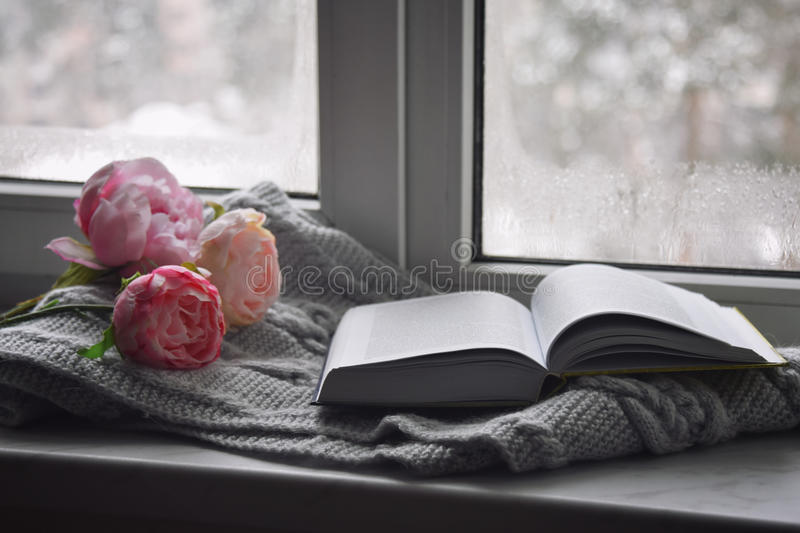 Cozy home still life: cup of hot coffee, spring flowers and opened book with warm plaid on windowsill against snow royalty free stock photo