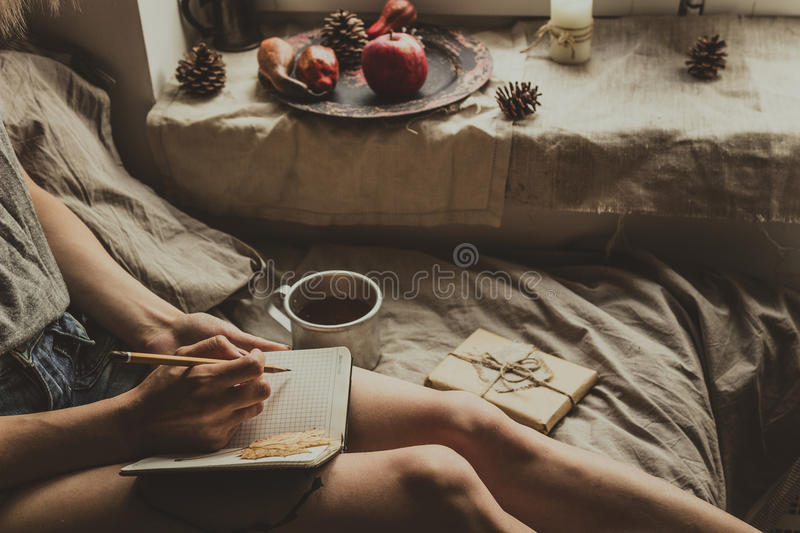 Cozy home. Woman sitting by the window and writing in notepad. Selective focus royalty free stock photography