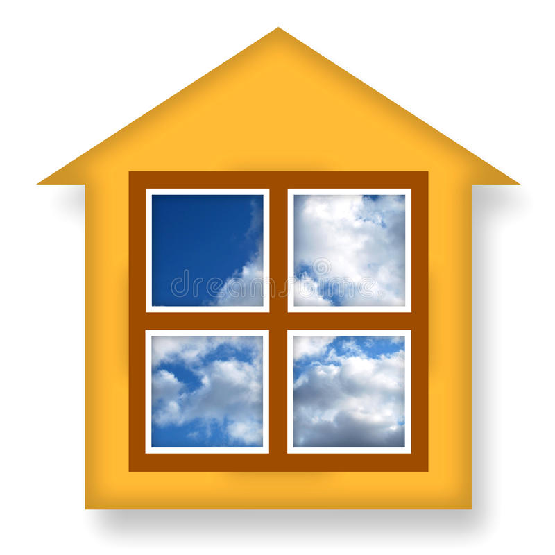 Cozy house. With blue sky in windows over white background royalty free illustration