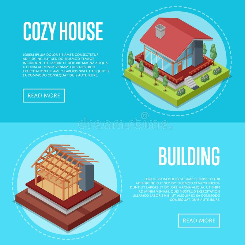 Cozy house building posters set. House framework construction, walls and roof installation vector illustration. Construction stages of house, real estate vector illustration