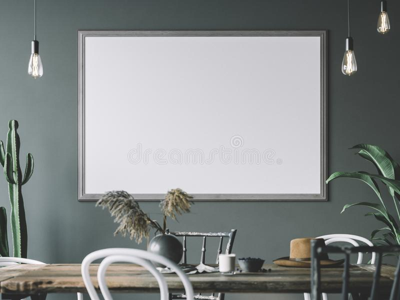 Cozy interior with empty poster frame. Frame mockup in interior. Frame mockup in interior. Cozy interior with empty poster frame royalty free stock image