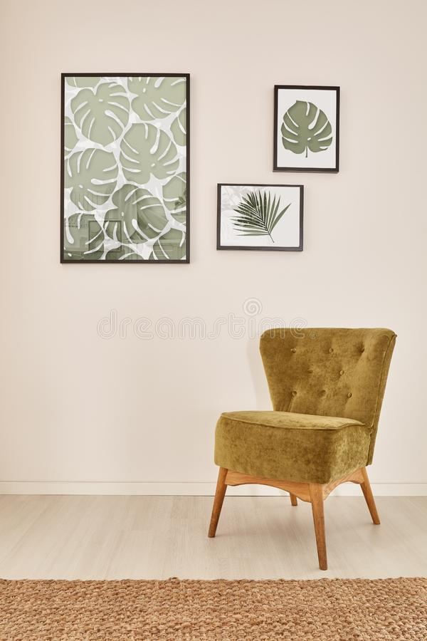 Cozy interior with green armchair royalty free stock image