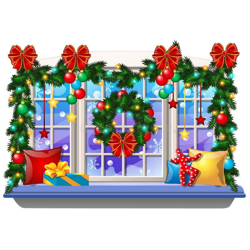 Cozy interior home window with decoraions and baubles isolated on white background. Sample of Christmas poster, party. Holiday invitation, festive card. Vector vector illustration