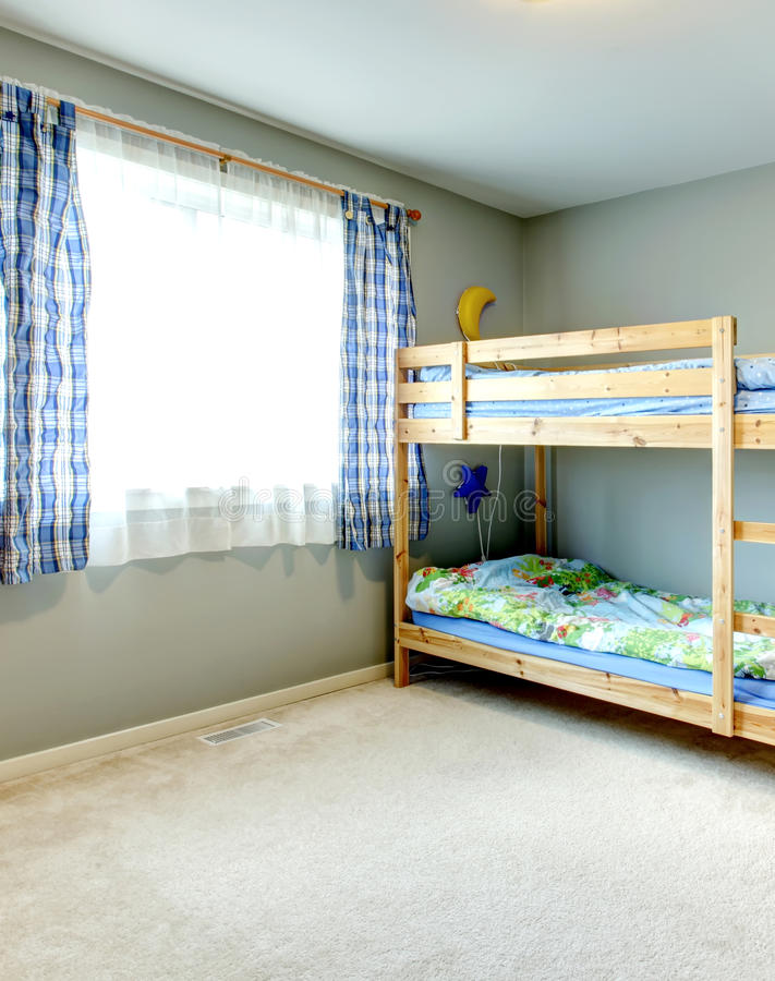 Cozy Bedroom For Kids With Pleated Curtains, Two Level Bed And Desk